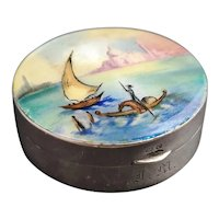 Vintage sterling silver and guilloche enamel box