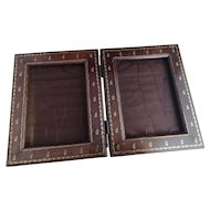 Antique brass inlaid double picture / photo frame