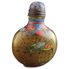 Antique Chinese enamelled glass snuff bottle, Qianlong mark