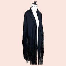 Vintage black silk shawl, large, early 20th century