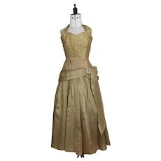 Vintage 1950's gold evening gown, dress
