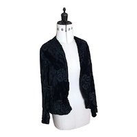 Vintage 20s Black silk velvet burnout jacket