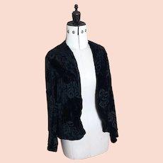 Vintage 20s Black silk velvet burnout jacket