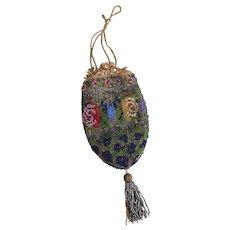 Antique Regency beadwork purse