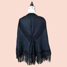 Antique Victorian black moire mourning cape