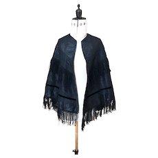 Victorian black taffeta mourning cape