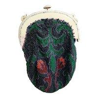 Vintage Art Deco beadwork purse, bakelite frame