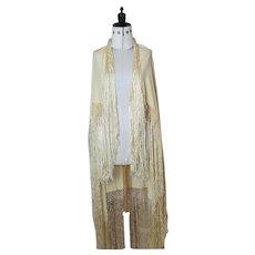 Vintage 1920's yellow silk shawl