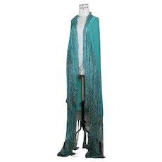 Vintage 20's green crepe silk shawl
