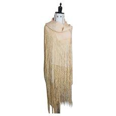 Vintage 1920's crepe silk shawl, Art Deco
