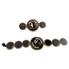 Antique French jet buckle bracelet, brooch set