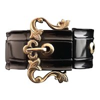 Antique Victorian whitby jet and 9k Gold buckle bracelet