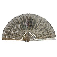 Antique lace hand fan, mother of pearl