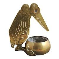 Antique novelty brass cigar cutter, Marabou bird