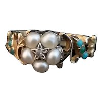 Victorian forget me not ring, turquoise, pearl and diamond, 18k