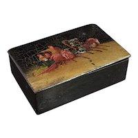 Antique Russian lacquer tobacco box