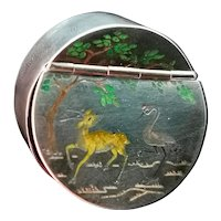 Antique Chinese silver snuff box, inlaid