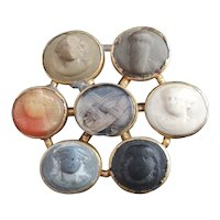 Georgian Lava cameo mourning brooch, 18k gold