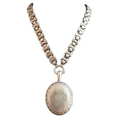 Victorian silver locket and book chain necklace