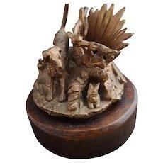 Antique gilt bronze table vesta, hunting dog