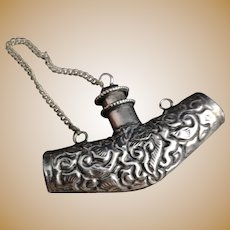 Antique Indian silver scent flask, scent bottle