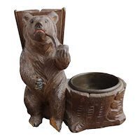 Antique black forest bear smokers stand, vesta, ashtray