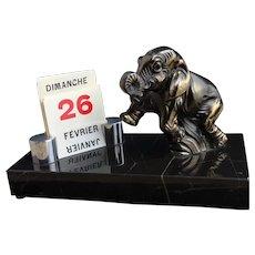 Vintage French Art Deco desk calendar, elephant