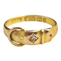 Victorian 18ct gold diamond buckle ring
