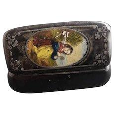 Antique snuff box, papier mache