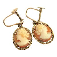 Antique cameo earrings, 9ct gold