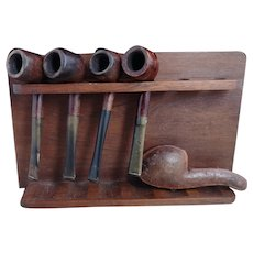 Vintage wooden pipe rack