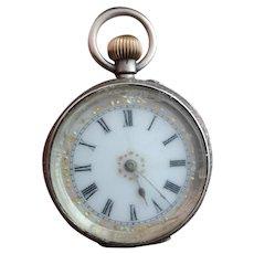 Antique ladies pocket watch, fine silver