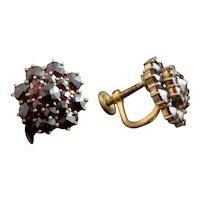 Vintage Czech garnet cluster earrings