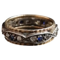 Art Deco paste eternity ring, 9k and silver