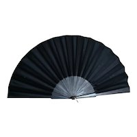 Antique Victorian black silk hand fan