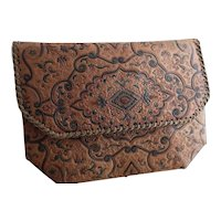 Vintage 30s embossed leather clutch bag