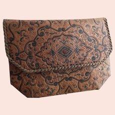 Vintage 30s embossed leather clutch bag