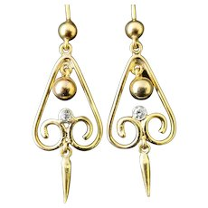 Victorian diamond earrings, dangly, 15k yellow gold