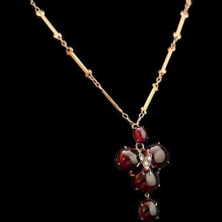 Antique mourning pendant, Diamond fly, Bohemian garnet, 18ct gold necklace