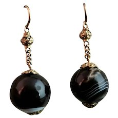 Victorian banded agate drop earrings, 9ct gold