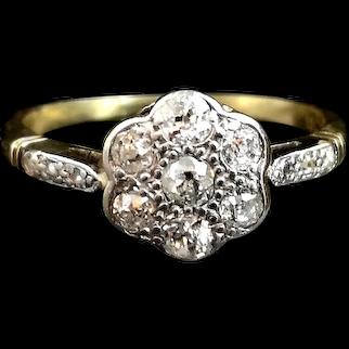 Art Deco diamond daisy ring, 18k gold, platinum