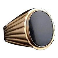 Vintage gents Onyx signet ring, 9k gold, heavy