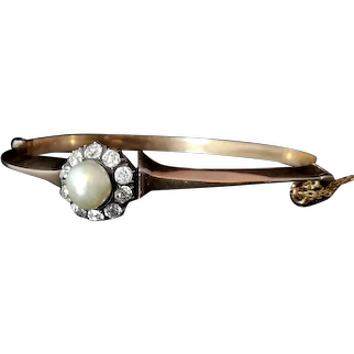 Antique diamond and pearl bangle, 18ct Rose gold, Victorian