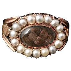 Georgian pearl mourning ring, 18k gold, Hairwork