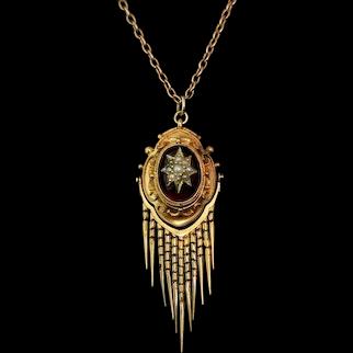 Victorian Garnet tassel pendant, pearl star, 18k, gold necklace