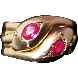 Antique Victorian Ruby snake ring, 9k