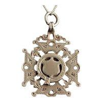 Antique silver watch fob, pendant, Order of the Garter, Maltese Cross