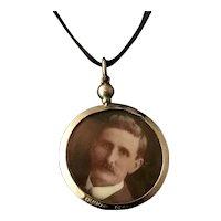 Antique Edwardian portrait pendant locket, 9k gold