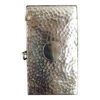 Antique hammered silver card case, George Unite