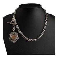 Victorian silver Double Albert chain, antique fob